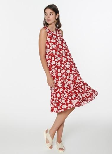 Loves You Desenli Kolsuz Elbise Kırmızı